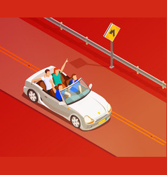 friends riding luxury car isometric poster vector image