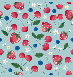fruits seamless pattern strawberry cherry vector image