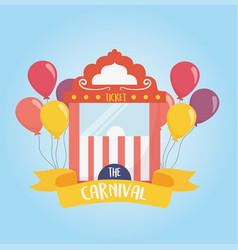 Fun fair carnival ticket booth balloons recreation vector