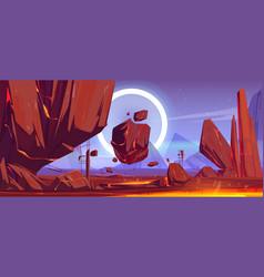 Futuristic landscape alien planet with lava vector