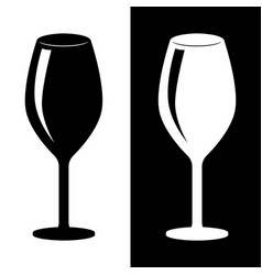 glass of wine black and white silhouette drawing vector image