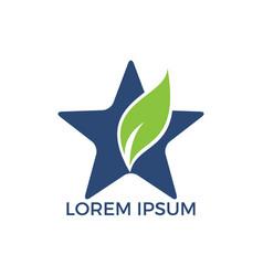 green leaf star logo design vector image