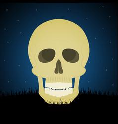 Halloween skull graveyard background vector