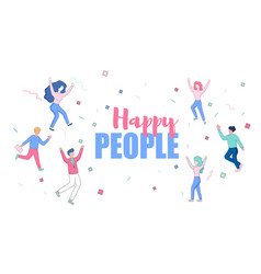 happy faceless male and female characters dancing vector image