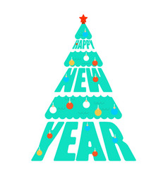 happy new year letthering christmas tree xmas vector image