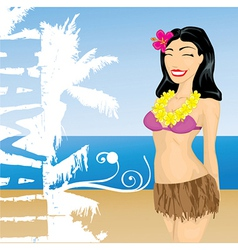 Hawaii girl vector
