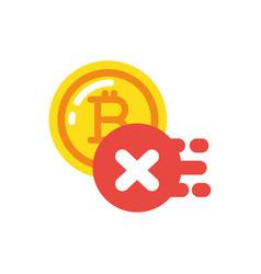 isolated bitcoin and forbidden button vector image