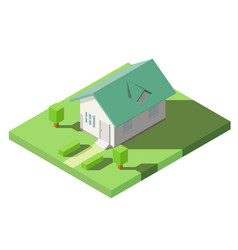 isometric of house with green dormer roof on the vector image