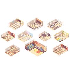 isometric school building cross-section vector image