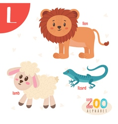 Letter L Cute animals Funny cartoon animals in vector image