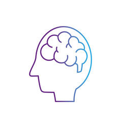 Line silhouette side man with anatomy brain vector