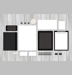 Mock-up business template with tablet on wood vector