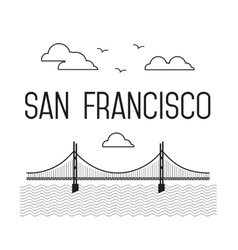 Monochrome San Francisco Golden Gate Bridge vector