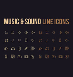 music sound line icon for app mobile website vector image