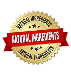 natural ingredients 3d gold badge with red ribbon vector image