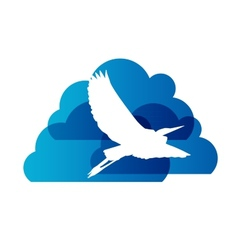 Natural Sign with Stork and Cloud vector image