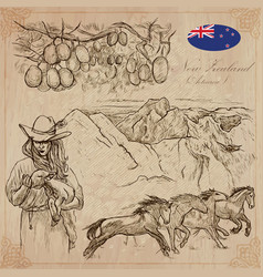 new zealand pictures of life pack hand vector image
