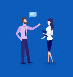 office workers man and woman business talks vector image