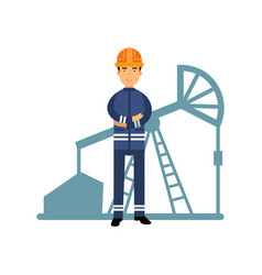 Oilman character in a blue uniform oil industry vector