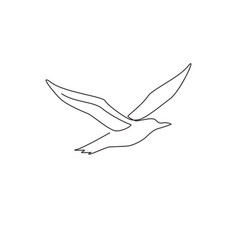 One continuous line drawing cute albatross vector