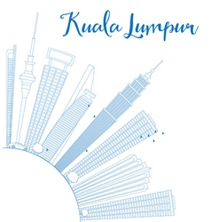 Outline Kuala Lumpur Skyline with Blue Buildings vector