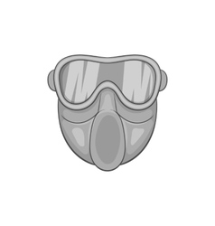 Paintball mask icon black monochrome style vector image