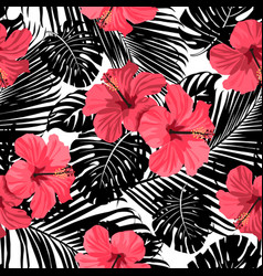 Palm pattern black vector