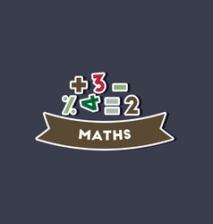 paper sticker on stylish background math lesson vector image