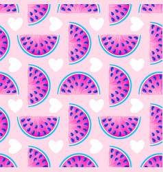 pattern with watermelons and hearts vector image