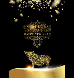 pig silhouette over golden christmas card vector image