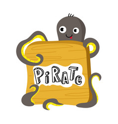 Pirate isolated icon with octopus vector