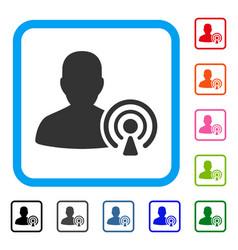 Podcast creator framed icon vector
