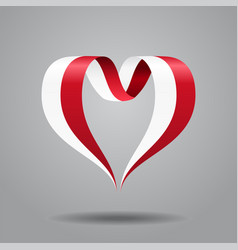 Polish flag heart-shaped ribbon vector