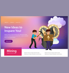 process of crypto currency mining flat poster vector image