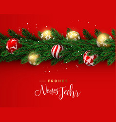 red christmas wreath ornament banner in german vector image