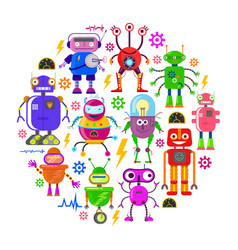 robots in flat style vector image