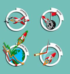 rocket business flat art style set vector image