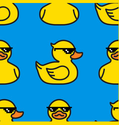 rubber yellow duck in sunglasses seamless pattern vector image