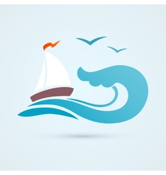 Sail ship wave icon vector image