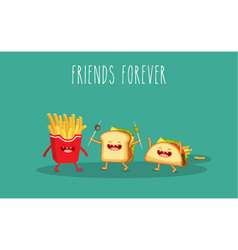 Sandwich and french fries vector