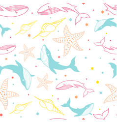 Seamless pattern with whales dolphins starfish vector
