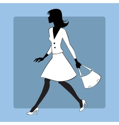 Silhouette icon modern young woman goes vector image
