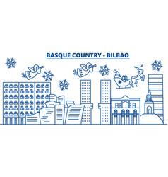 spain bilbao basque country winter city skyline vector image