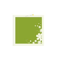 Square flower frame with pin vector