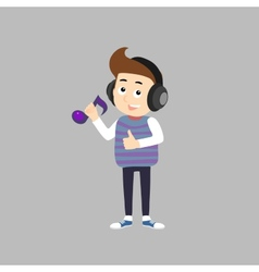 Stylish Boy listening music vector image