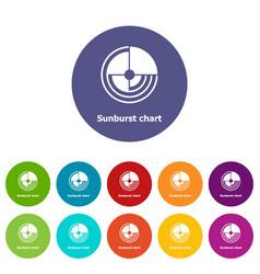 Sunburst chart icons set color vector