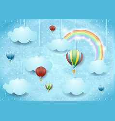 Surreal cloudscape with hot air balloons and vector