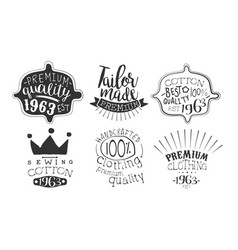 tailor made premium quality retro labels set vector image