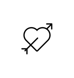 Thin line heart arrow icon vector