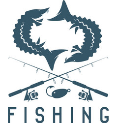 Vintage fishing design template with sturgeon vector